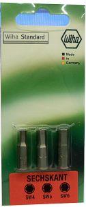 Wiha Standard ruuvikärjet HEX 4, 5 ja 6 (25mm)