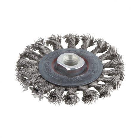 Palmikoitu teräsharja 100mm (M14) Wolfcraft ruostumaton